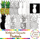 Fruit Clip Art Pineapple Worksheet Elements for Tracing Cu