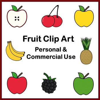Fruit Clip Art for Commercial Use (PDF and PNG)