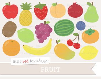 Fruit Clipart; Apple, Pear, Strawberry, Peach, Lemon, Lime