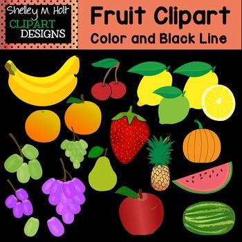 Fruit Clipart - Color and Black line
