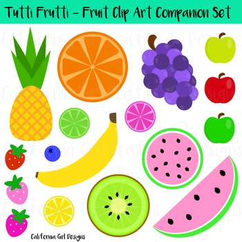 Fruit Clipart Set - Watermelons, Apples, Banana, Pineapple and More!