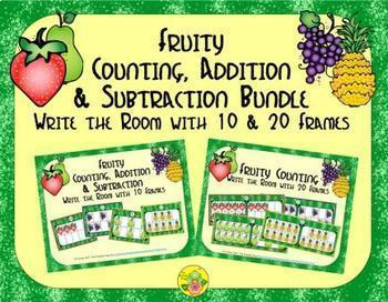 Fruit Count, Add & Subtract Bundle with 10 & 20 Frames {Su