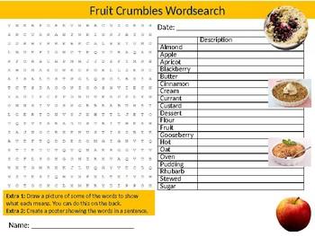 Fruit Crumbles Wordsearch Sheet Starter Activity Keywords Food Nutrition