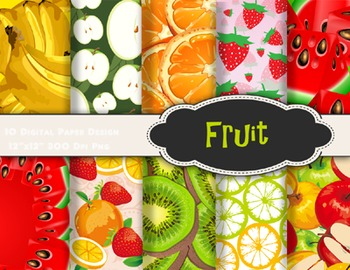 Fruit Digital Paper Pack Apple Banana Kiwi Water Melon Str