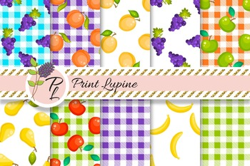 Fruit Digital Paper Set. Grapes, apples, peach, apricot, banana, tartan plaid.