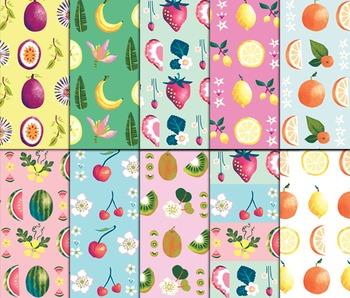 Fruit Digital Papers, Background Paper, Fruit Crush, Fruit