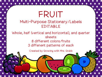 Fruit EDITABLE Parent Letter, Announcement, Newsletter, Stationary, Name Tags