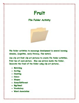 Fruit File Folder Activities