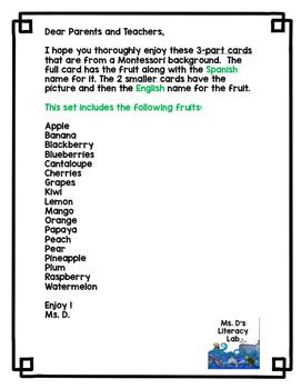 Fruit Flashcards (Spanish/English)
