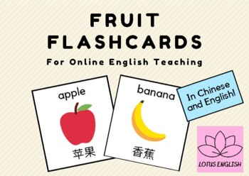 Fruit Flashcards for Online English Teaching with Chinese Students (VIPKid)