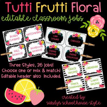 fruit floral editable classroom jobs classroom theme decor tpt