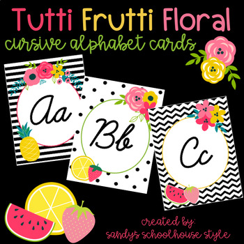 Fruit & Floral Cursive Alphabet Cards-Classroom Theme Decor