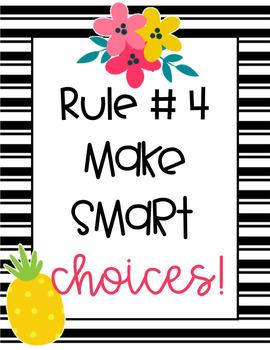 Fruit & Floral Editable Rules-Classroom Theme Decor