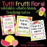Fruit & Floral Classroom Theme Editable Rules Posters