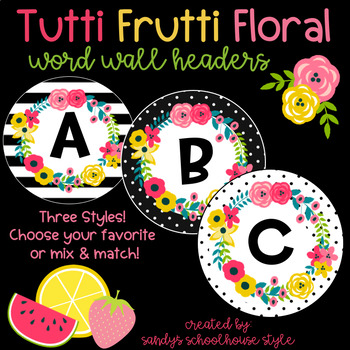 Fruit & Floral Word Wall Headers