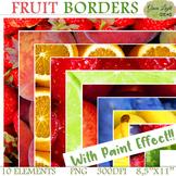 Fruit Frames Clip Art / Fruit Borders Clipart / Painted Effect Fruit Borders
