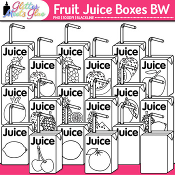 Fruit Juice Boxes Clip Art {Food Groups & Nutrition Graphics for Resources} B&W