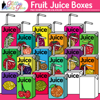 Fruit Juice Boxes Clip Art {Food Groups & Nutrition Graphics for Resources}