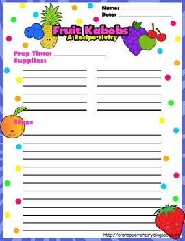 Fruit Kabobs - A Recipe-tivity for Procedural Writing