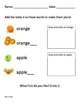 Fruit -- Kindergarten ELA -- Vocabulary - Plurals - Sentence Building