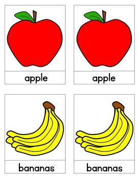 Fruit Literacy Matching Cards / Montessori Style / Hands-on Lessons