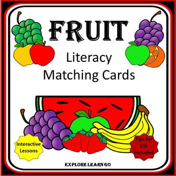 Fruit Literacy Matching Cards / Montessori Style / Hands-o