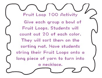 Fruit Loop 100th Day activity