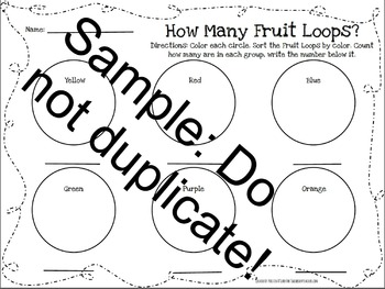 Fruit Loop Color, Sort, and Count