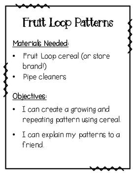 Fruit Loop Pattern Bracelets {Growing and Repeating Patterns}