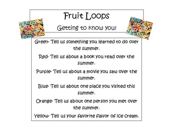 Fruit Loops- Getting to Know You Game- Back to School