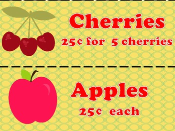 Fruit Market Activities for Addition, Subtraction, and Money Centers
