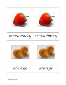 Fruit Matching Cards in D'Nealian