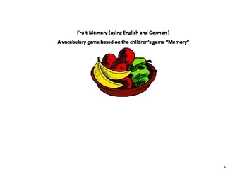 Fruit Memory Game,English and German Vocabulary