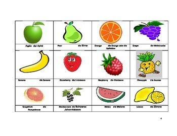 Fruit Memory Game,English and German Vocabulary