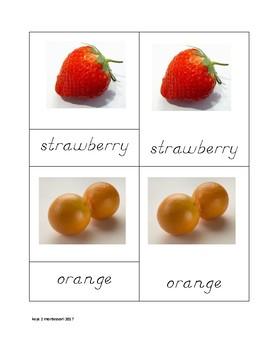 Fruit Nomenclature Cards in Cursive