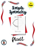 Fruit - Nutrition - Simple Symmetry - Draw Color Trace - 5 pages