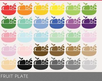 Fruit Plate Digital Clipart, Fruit Plate Graphics, Fruit P