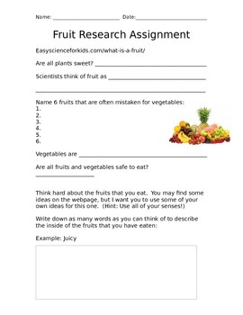 Fruit Research Assignment - PLANTS