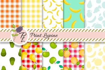 Fruit Seamless Digital Paper. Avocado, apple, apricot, banana, tablecloth.