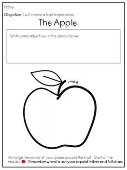 Fruit Shape Poem Writing Frame