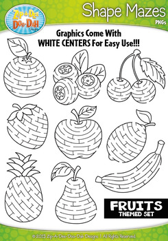 Fruit Shaped Mazes Clipart Set — Includes 15 Graphics!