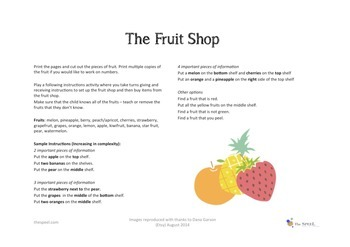 Fruit Shop Following Instructions Activity