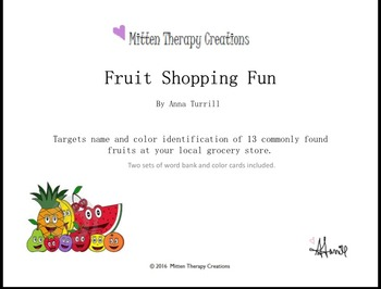 Fruit Shopping Fun by Mitten Therapy Creations