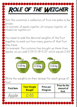 Fruit Supermarket Shopping Victorian Curriculum Money Decimals Open Ended