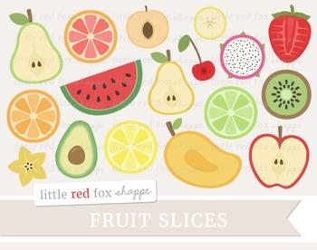 Fruit Slice Clipart; Apple, Pear, Lemon, Orange, Watermelon, Peach, Lime, Kiwi