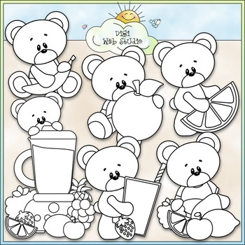 Fruit Smoothie Bears Clip Art - Bears With Fruit Clip Art - CU Clip Art & B&W