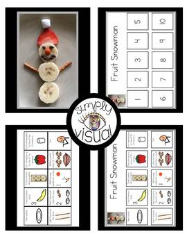 Simple Snack Activity with Visual Directions Fruit Snowman