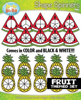 Fruit Spinner Shapes Clipart {Zip-A-Dee-Doo-Dah Designs}