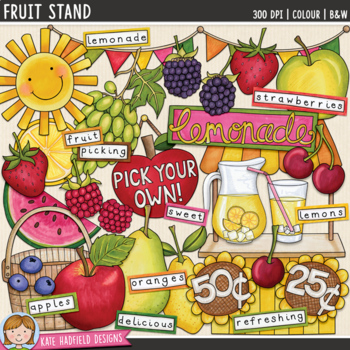 "Lemonade Stand Summer Clip Art: ""Fruit Stand"""