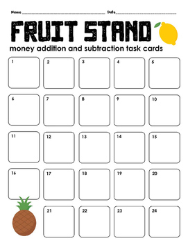 Fruit Stand Money Addition and Subtraction Task Cards